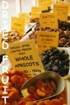 Dried Fruit from around the world.: vine fruits, apricots, peaches, pears, dates, figs, prunes, mango & pineapple