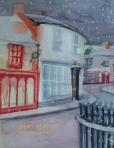 Spill the Beans Christmas card 2013 a watercolour by Maggie Drennan 'Snowing in West Street'