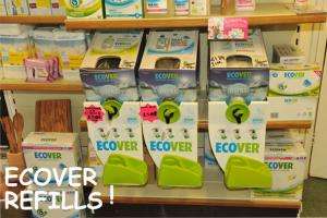 Ecover refills helping to save on packaging cutting down on waste whilst saving money. Cheaper products less packaging.